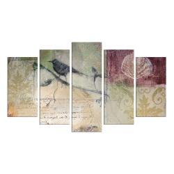 Vícedílný obraz Birdie On The Branch, 110x60 cm