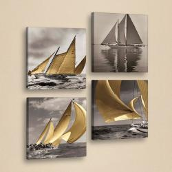 Dekorativní vícedílný obraz Boats, 33x33 cm