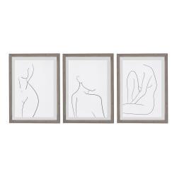 Sada 3 nástěnných obrazů v rámu Surdic Body Studies, 35 x 45 cm