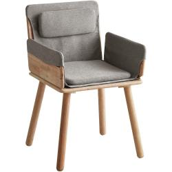 Jídelní židle se šedým textilním podsedákem a opěrkami DEEP Furniture Jack