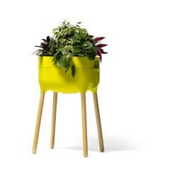 Zelená samozavlažovací pěstební nádoba Plastia High Urbalive, výška 77 cm