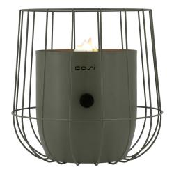 Olivově zelená plynová lampa Cosi Basket, výška 31 cm