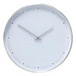 Bílé nástěnné hodiny s rámečkem ve stříbrné barvě Hübsch Ibtre, ø40cm