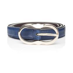 Tmavě modrý kožený dámský pásek Ferruccio Laconi Leto, délka 90 cm