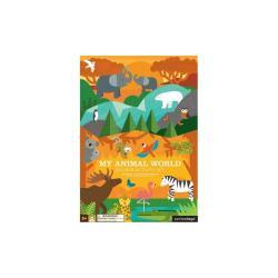 Skládací deska se samolepkami z recyklovaného papíru a rostlinného inkoustu Petit collage Animal World