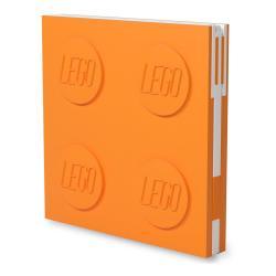 Oranžový čtvercový zápisník s gelovým perem LEGO®, 15,9 x 15,9 cm