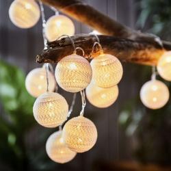 LES PETITES BELLES Světelný řetěz mini koule 15 světel - sv. růžová