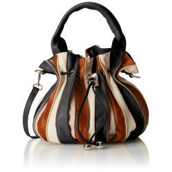 Karamelově hnědo-černá kožená kabelka Chicca Borse Jenn