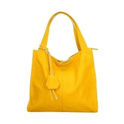 Žlutá kožená kabelka Chicca Borse Crispy