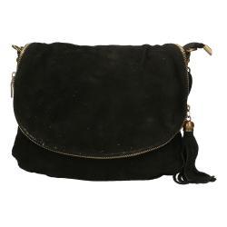 Černá kožená kabelka Chicca Borse Sullo