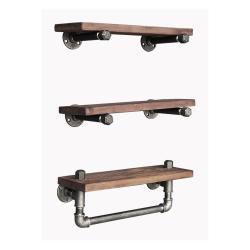Sada 3 dřevěných nástěnných polic Tube