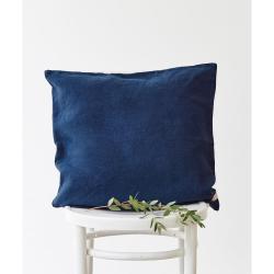 Námořnicky modrý lněný povlak na polštář Linen Tales, 45 x 45 cm