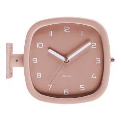 Šedorůžové nástěnné hodiny Karlsson Slides, 29 x 24,5 cm