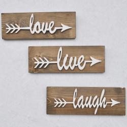 Sada 3 dřevěných nástěnných dekorací White Love
