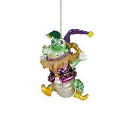 HANG ON Vánoční skleněná ozdoba bláznivý krokodýl