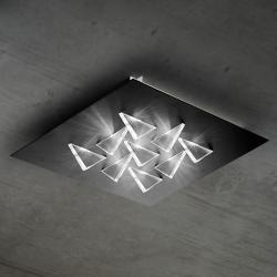 BRAGA LED stropní svítidlo Cristalli 36x36 cm černé