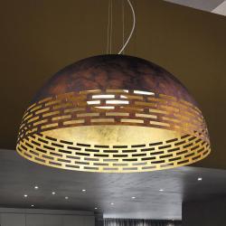 BRAGA Vně rez, uvnitř zlato - závěsné světlo LED Greka