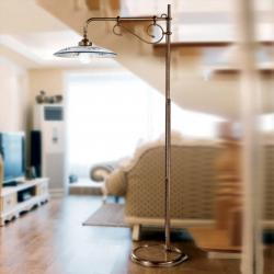 Cremasco Stojací lampa Bassano s ramenem, modrá