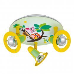 Elobra Dětské stropní svítidlo Sova, zeleno-žluté