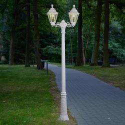 Fumagalli Bílé stožárové LED svítidlo Artu Rut, 2 zdroje E27
