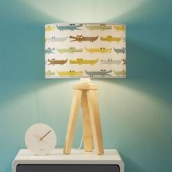 Maco Design Barevná stolní lampa dětský pokoj Kroko s dřevem