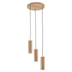 Spot-Light Třízdrojové závěsné světlo LED Pipe dubové dřevo