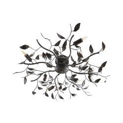 Lindby Stropní lampa Yos v dekoru listů, 8bodová, černá