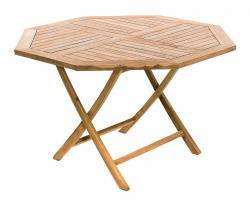 DEOKORK Zahradní skládací stůl osmiúhelník HAGEN ⌀ 120 cm (teak)