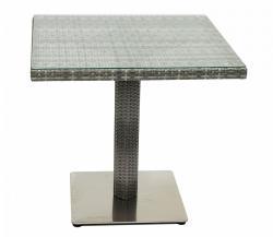 DEOKORK Zahradní ratanový stůl GINA 80x80 cm (šedá)
