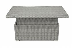 Ratanový stůl výsuvný jídelní / odkládací 140 x 80 cm SEVILLA (šedá)