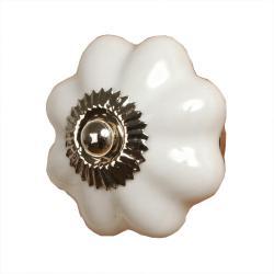 Clayre & Eef Keramická úchytka bílá květina - Ø 3,5 cm