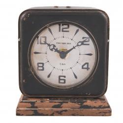 Kovové stolní retro hodiny s patinou - 11*5*12 cm