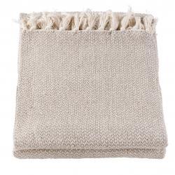 Šedo-hnědý bavlněný pléd s třásněmi - 150*180 cm