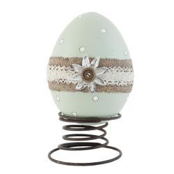 Clayre & Eef Dekorace  vajíčko na pružině  - 16*12*21 cm