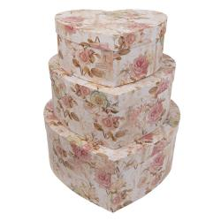 Papírové krabice srdce 3ks - 31*28*13/27*24*11/22*20*9 cm