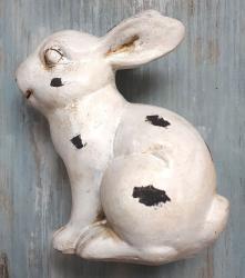 Exner Dekorace bílý králíček s patinou a odřením - 12*7*14cm