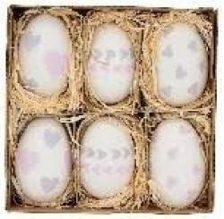 Velikonoční vajíčka s potiskem - 6ks - Ø 4,5*7 cm