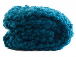 Modrý ručně pletený pléd - 150*125 cm