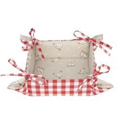 Červený textilní košíček na pečivo Lucky Chicken - 35*35*8 cm