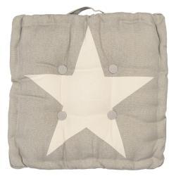 Béžový podsedák s hvězdou - 40*40*8 cm