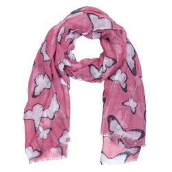 Juleeze Růžový šátek s motýly - 90*180 cm