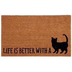 Kokosová rohožka Life is better with a cat - 75*45*1 cm