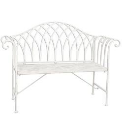 Bílá kovová zahradní lavice Benchy - 128*44*93 cm