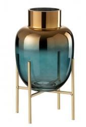 Skleněná tyrkysová dekorační váza na podstavci - Ø 16*27cm