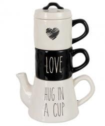 Bílo-černý Tea for 2 Love -  20*13*28cm