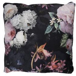 Černý sametový polštář s výplní Flower - 45*45cm