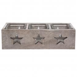 Dřevěný svícen s hvězdami - 27*9*8 cm
