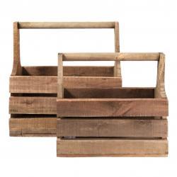 2 dřevěné bedýnky s držadlem - 41*21*41 cm / 36*15*32 cm