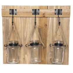 Nástěnný dřevěný věšák s vázičkami - 39*7*35 cm