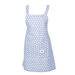 Světle modrá bavlněná kuchyňská zástěra s puntíky - 70*65 cm